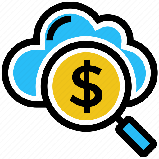 business, business & finance, cloud, dollar, magnifier, search money icon
