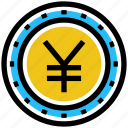 business, business & finance, coin, money, yen, yen coin icon