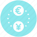 business, business & finance, coins, euro, exchange, yen icon