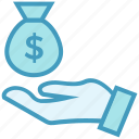 business, business & finance, dollar, hand, money bag, saving icon