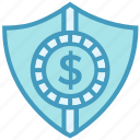 business, business & finance, dollar, money, money secure, shield icon