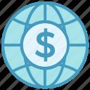 business, business & finance, dollar, globe, international coin, world icon
