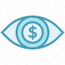 business, business & finance, dollar, eye, money, vision icon