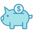bank, business, business & finance, coin, dollar, piggy icon