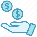 business, business & finance, dollar coins, donation, hand, money icon