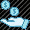 business, business & finance, dollar coins, donation, hand, money