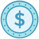 business, business & finance, coin, dollar, dollar coin, money icon
