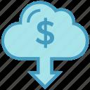 business, business & finance, cloud, dollar sign, down arrow, money