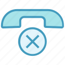 business, business & finance, calling cancel, cross, missed call, telephone icon