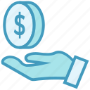 business, business & finance, dollar coin, donation, hand, money icon