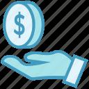 business, business & finance, dollar coin, donation, hand, money