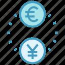 business, business & finance, coins, euro, exchange, yen