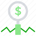 business, business & finance, dollar, magnifier, searching, strategy icon