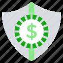 business, business & finance, dollar, money, money secure, shield icon