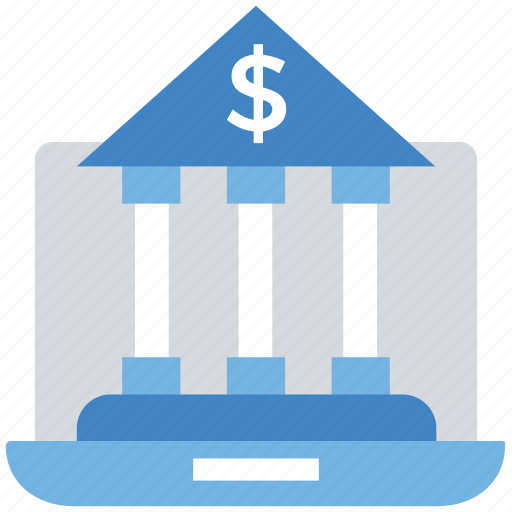 bank, business, e-banking, finance, laptop, online, payment icon
