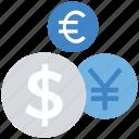 business, coins, dollar, euro, finance, payment, yen