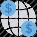 business, coins, dollar, finance, globe, international currency, money