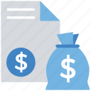 business, coin, document, dollar bag, finance, money bag, paper icon