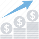 business, coins, finance, increase, price, stack, up arrow