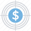 business, coin, dollar, finance, goal, money, target icon