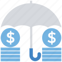 business, coins, finance, funds, insurance, protection, umbrella icon