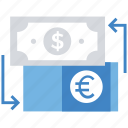 business, currency exchange, dollar, euro, finance, money icon