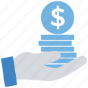 business, coins, dollar, finance, hand, stack icon