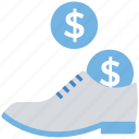 business, coins, dollar, finance, money, shoes icon