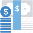 business, cash, dollar coins, dollar notes, finance, money, payment icon