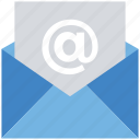 at sign, business, envelope, finance, letter, mail, message icon