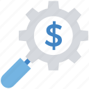 business, cogwheel, dollar, finance, magnifier, research, setting icon
