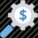 business, cogwheel, dollar, finance, magnifier, research, setting