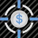 coin, dollar, focus, goal, target icon
