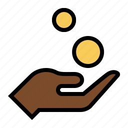 alms, beggar, charity, coins, donation, hand, payment icon