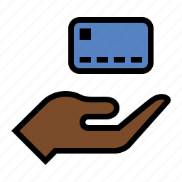 credit card, debit card, hand, payment icon