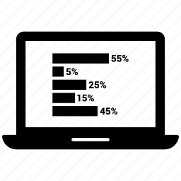 chart, laptop icon