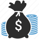 coin, dollar, finance, investment, money bag icon