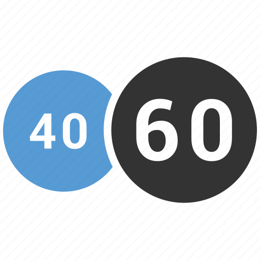 forty, graphic, half, info, pie chart, sixty icon