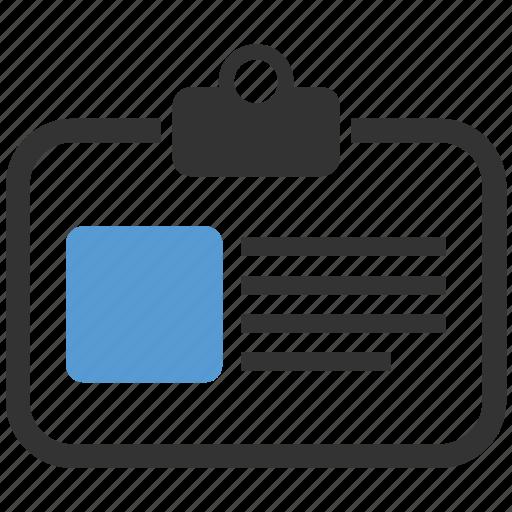 badge, card, document, id, identification card icon