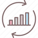 bar graph, data, data processing, initializing, process icon