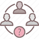 team, group, question mark, analytical group, collaboration icon