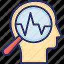 analysis, awareness, head, magnifier, self observation