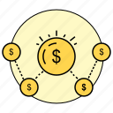 affiliate, business, cash, finance, money, relations, rounded icon