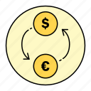 business, currency, exchange, finance, money, rounded icon