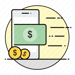 business, dollar, finance, mobile, money, payment, rounded icon