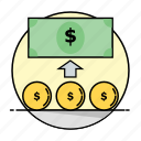 business, cash, finance, financial, growth, money, rounded icon