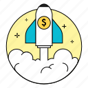 business, business-startup, launch, money, rounded, startup icon