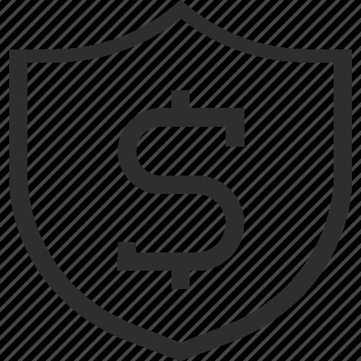 badge, business, dollar, finance, safe, secure, shield icon