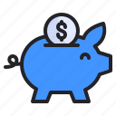 business, coin, finance, management, money, pig, save icon