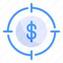 business, dollar, finance, focus, goal, management, target icon